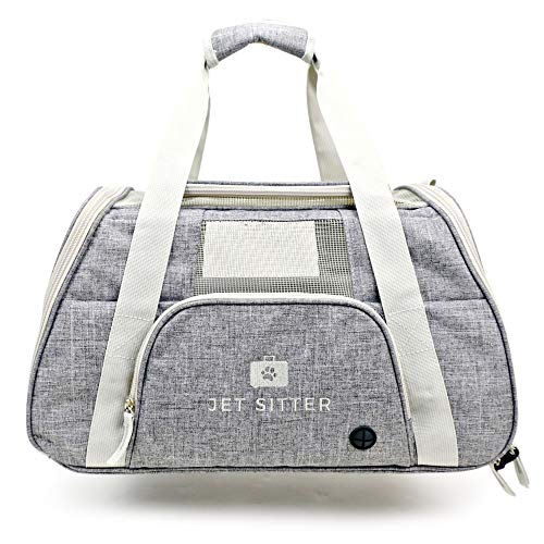 - Jet Sitter Super Fly V4 Airline Approved Soft Sided Pet Carrier Bag for Small Dogs Cats (Fancy Grey)