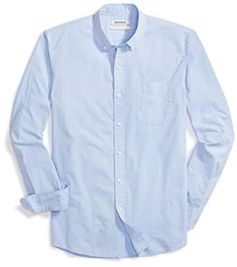 Goodthreads Men's Standard-Fit Long-Sleeve Dot Shirt, Blue/White, Small