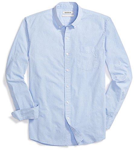 Goodthreads Men's Standard-Fit Long-Sleeve Dot Print Shirt, Blue/White, Medium