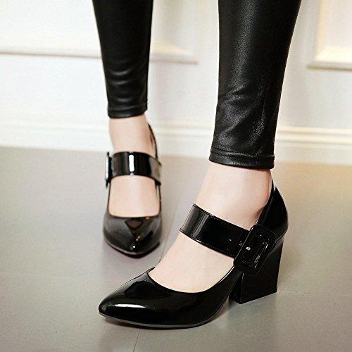 Mee Shoes Damen chunky heels Lackleder Schnalle Pumps Schwarz