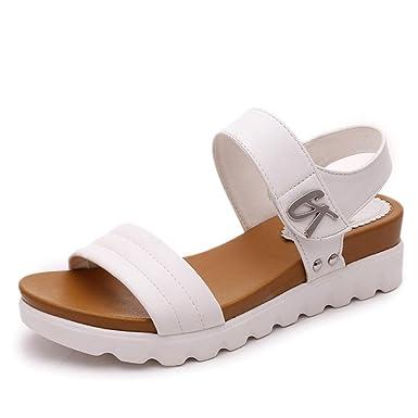 ZARLLE Sandalias Mujer Plataforma Cuero Verano Zapatillas Deportivas Verano Sandalias De Mujer Sandalias De Moda CóModo SeñOras Zapatos De Piso: Amazon.es: ...