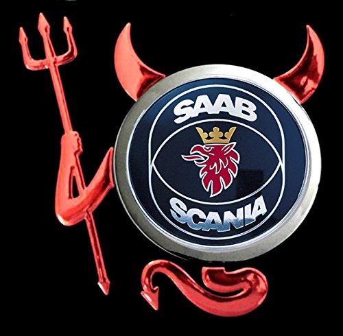 Saab Scania - Devil Teufel Auto Logo car Schwarze Langarmshirt -230-LA