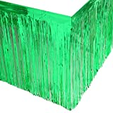 Leegleri 2 Pack Metallic Foil Fringe Table Skirt Green Table Skirt Tinsel Party Table Skirt Banner for Mardi Gras Party(L108 inH 29in, Green)