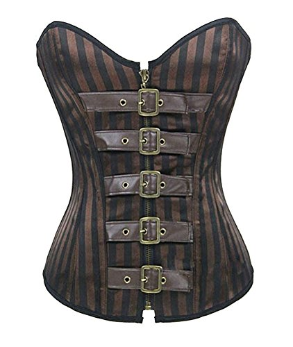 Chicastic Brown Goth Steel Boned Brocade Vintage Steampunk Buckle-Up Corset Bustier Top - -