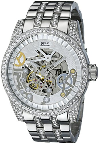 GUESS Men's U0012G1 Exhibition Automatic  Silver-Tone Watch