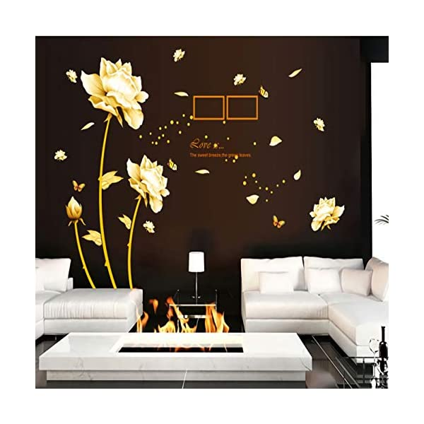 Creative Golden Flower Wall Stickers, Removable Gold Picture Frame Dots Wall Sticker, Romantic Warm Living Room Background Wall Decoration PVC Self-Adhesive Wall Decals(Gold Lotus)