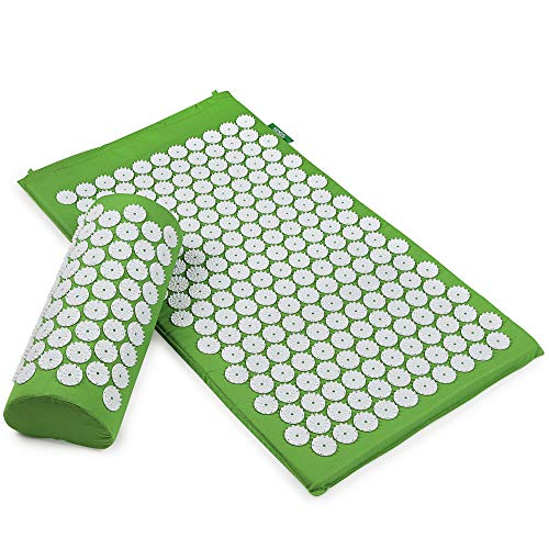 Kendal Back and Neck Pain Relief Massage Acupressure Mat and Pillow Set Acupuncture Mattress for Muscle Relaxation Chronic Head Pain Relieves SMT0102