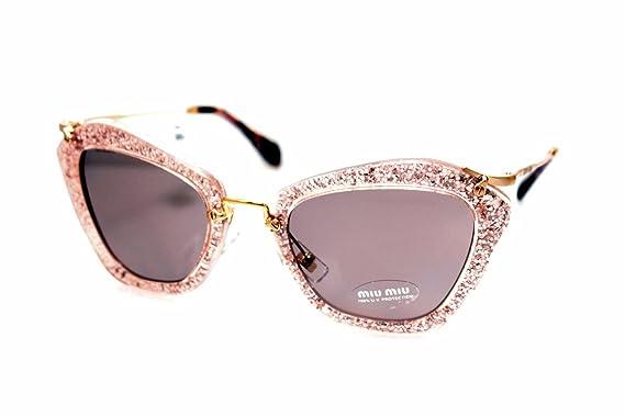 a24aaacdcd4a Amazon.com  Miu Miu 10NS TKB6X1 Pink Silver Glitter 10NS Cats Eyes  Sunglasses Lens Category  Clothing
