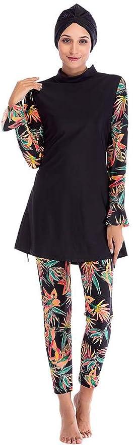 b974a57242dc0 Ababalaya Womens Muslim Islamic Long Sleeve Tropical Print Burkini Full  Cover Hijab Swimsuit at Amazon Women s Clothing store
