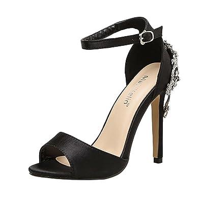b35400d8a948 OverDose Sandales à Talon Haut en Cristal, Été Femme Chaussures Noir Cuir  Fête Mariage Sexy