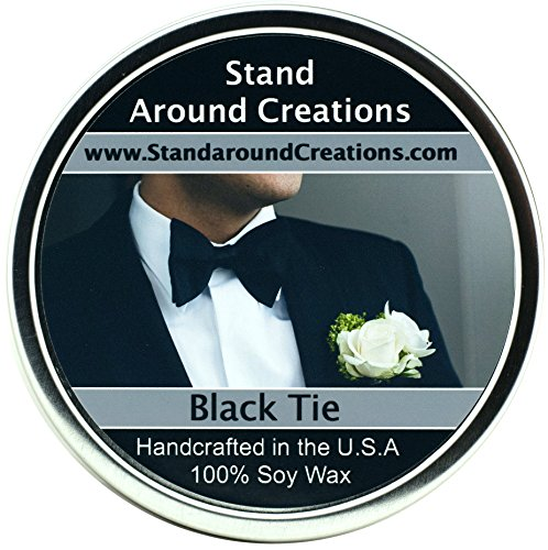 Premium 100% All Natural Soy Wax Aromatherapy Candle - 16oz Tin - Black Tie: Sophisticated notes of black peppercorn and leather with warm woods, patchouli, musk and citrus.