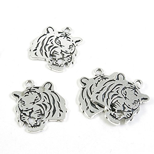- 20 Pieces Antique Silver Tone Jewelry Making Charms Pendant Findings Craft Supplies Bulk Lots Arts X2BL4 Tiger Head