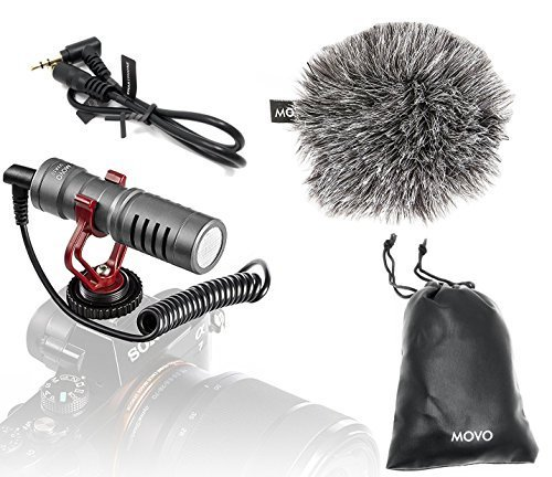 Movo VXR10GY Universal Video Microphone with Shock Mount, Deadcat Windscreen, Case for iPhone/Andoid Smartphones, Canon EOS/Nikon DSLR Cameras and Camcorders (Gray) from Movo
