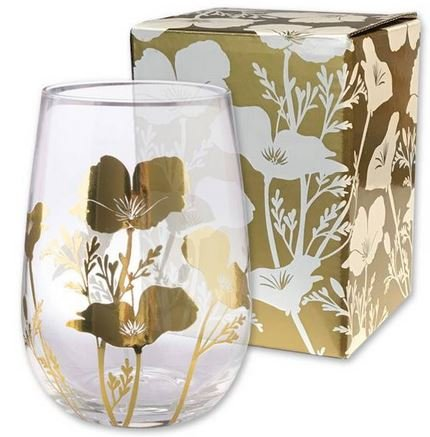 (California Poppy Golden Metallic Stemless Souvenir Wine Glass)