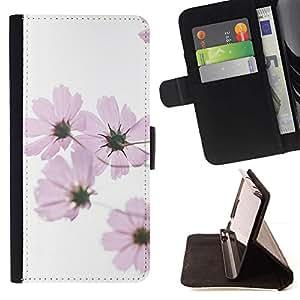 La primavera blanca rosada de las flores blanca- Modelo colorido cuero de la carpeta del tirón del caso cubierta piel Holster Funda protecció Para Samsung Galaxy Core Prime / SM-G360
