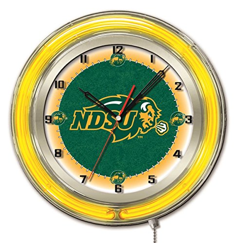 Holland Bar Stool Co. North Dakota State Bison HBS Neon Yellow Battery Powered Wall Clock (19