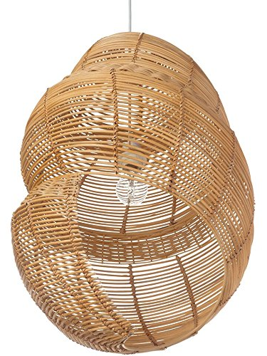 Kouboo Handwoven Wicker Coiled Shell Pendant Lamp, 17.5 x 16.5 x 27 in, Natural Brown