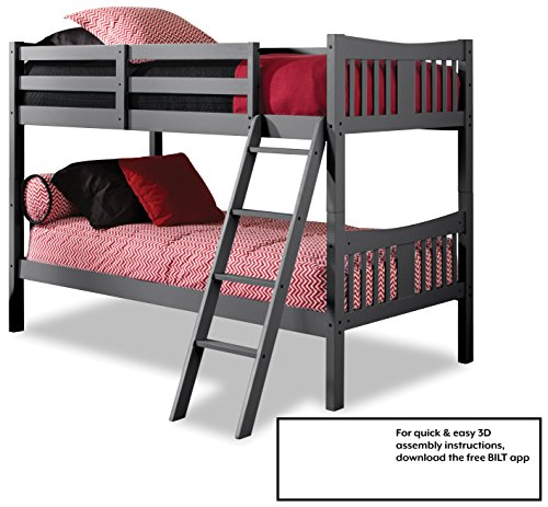 Storkcraft Caribou Solid Hardwood Twin Bunk Bed, Gray