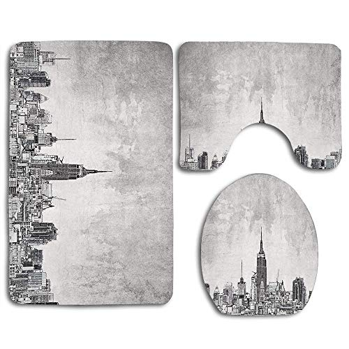 huachuangxinlHUQ Cosmopolitan New York City Skyline with Iconic Skyscrapers and High Buildings Artsy Design Bathroom Rug Mats Set 3 Piece Toilet Carpet Rugs Includes Contour Mat Lid Cover Non Slip