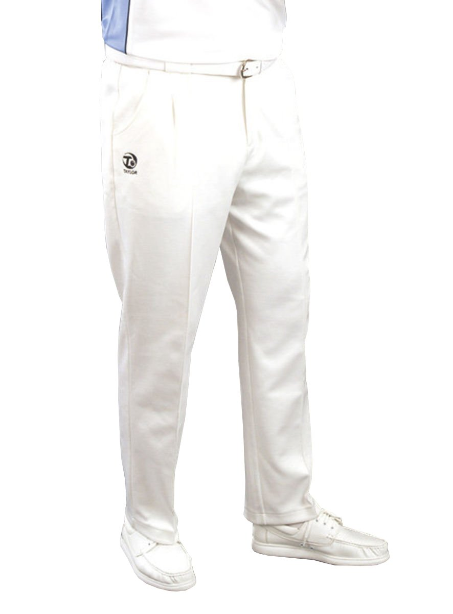 Taylor Mens White Sports Bowls Bowlers Trousers