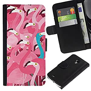 KingStore / Leather Etui en cuir / Samsung Galaxy S4 Mini i9190 / Flock Pink Teal fuera Naturaleza Pájaro
