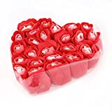uxcell® Heart Shaped Box Bathing Rose Bud Flower Petal Soap 24Pcs Red White Valentine's day gift