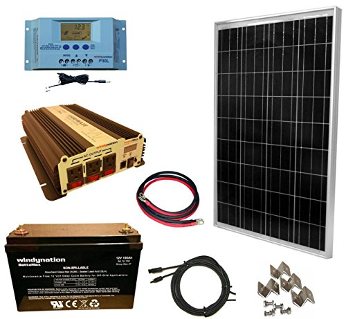 WindyNation 100 Watt Solar Panel Kit + 1500W VertaMax Power Inverter + 100ah AGM Deep Cycle Battery for RV, Boat, Off-Grid 12 Volt by WindyNation