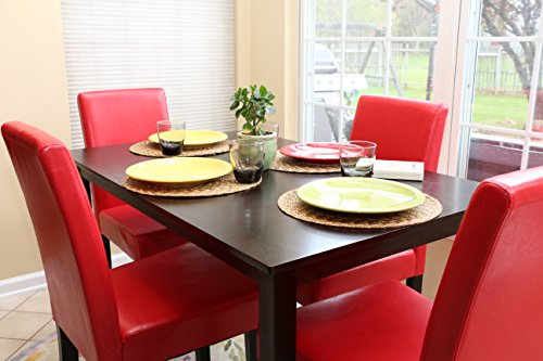 Amazon.com   5 PC Red Leather 4 Person Table And Chairs Red Dining Dinette    Red Parson Chair   Table U0026 Chair Sets