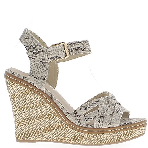 Piattaforma e beige zeppa sandali 11,5 cm