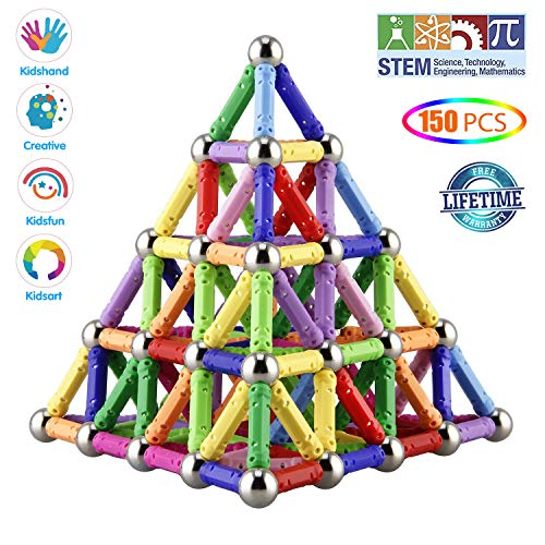 Veatree 150 Pieces Magnetic Building Sticks Building Blocks Set, Magnet Educational Toys Magnetic Blocks Sticks Stacking Toys Set for Kids and Adult, Construction Toys 3D Puzzle with Storage Bag
