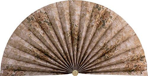 Neat Pleats Decorative Fan, Hearth Screen, or Overdoor Wall Hanging - L464 - Light Rose Beige with Gold Roses Flowers ()