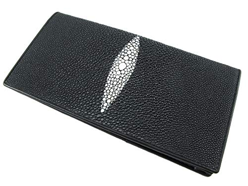 PELGIO Genuine Stingray Skin Checkbook Wallet Clutch Purse (Black)