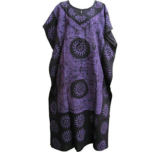 Indian Cotton Batik Paisley Floral Purple Toned Bohemian Long Caftan/Kaftan #4