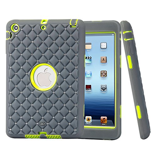 Studded Zebra - iPad Mini Flashing Case, Vivi Unique Studded Rhinestone Crystal Bling Design Soft iPad Mini 3 In1 Hybrid Shockproof Protective Sparkling Diamond Cover Case Armor for Apple iPad Mini 3/ 2/ 1 (grey)