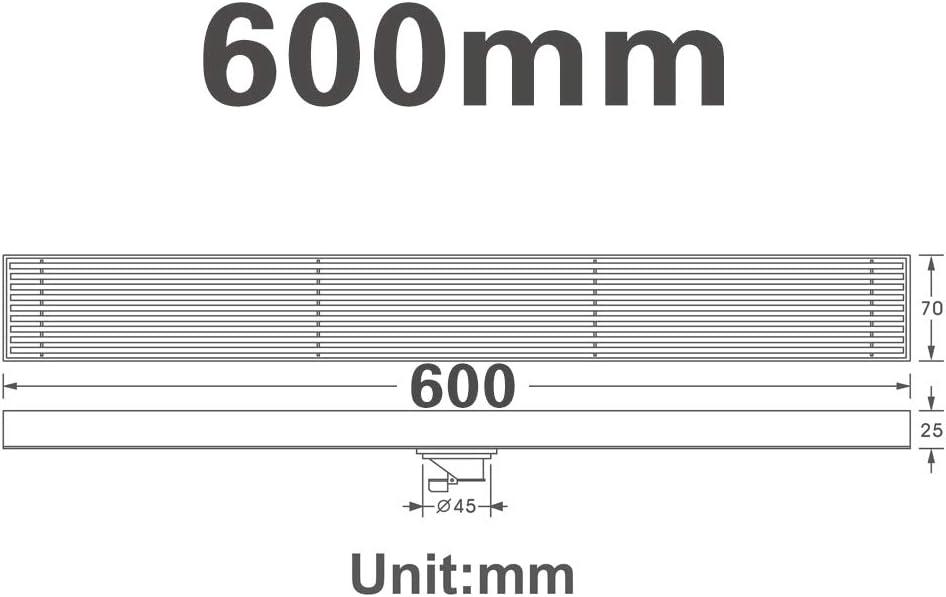 Drain De Plancher en Acier 304 Bross/é Lin/éaire Inoxydable Grand D/éplacement /Égoutter Anti-Odeur pour Salle De Bains Balcon H/ôtel Cuisine,120cm