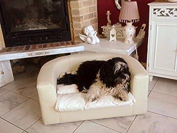 tierlando Cama para perro Sofá de perro LUDWIG 80cm COLOR CREMA Cuero artificial con Base de madera y Colchón de terciopelo para perros pequeños -L3-V-05: ...
