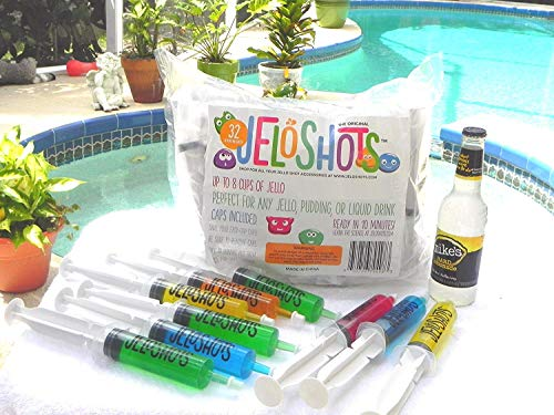 Jello Shot Syringes 32-Pack, Medium (up to 2oz), The Original JeloShots Gelatin Jello Shot Syringes with Easy-Grip Caps, -