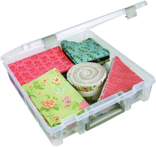 ArtBin 6955AB Super Satchel 1-Compartment Box - Clear, Craft Supply Storage Container with Secure Latches, Carrying Handle