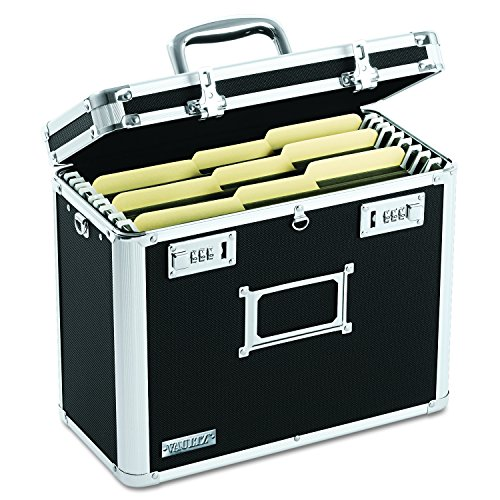 Portable File Holder - Vaultz Locking File Chest, Letter Size, Black (VZ01187)