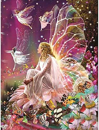 5D Diamond Painting Kit Complete Diamond Embroidery Painting DIY Embroidery Cross-Stitch for Home Wall Decoration Flower Fairy 20X16 inches