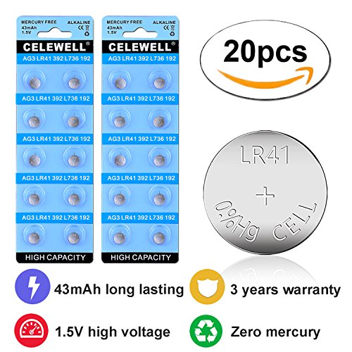 CELEWELL 43mAh 20 Pack LR41 AG3 392 384 Battery with 3 Years Warranty for Watch Toy LED Laser Pointer 1.5v Alkaline Coin Button Cell - Voltage Battery Alkaline