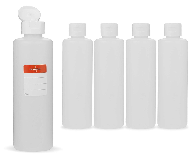 5 botellas de plástico de Octopus de 250 ml, botellas de plástico de HDPE con tapones abatibles blanco, botellas vacías con tapa abatible blanco, ...