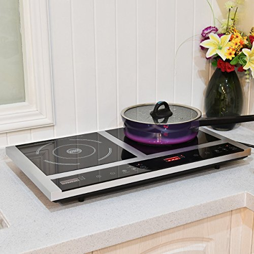 Costway Double Hot Plate, Portable Electric Induction Cooker Double Cooktop, Digital Display Countertop Burner