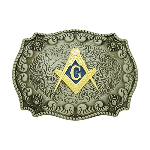 Mason Masonic Compass Symbol Cowboy mens Belt Buckles