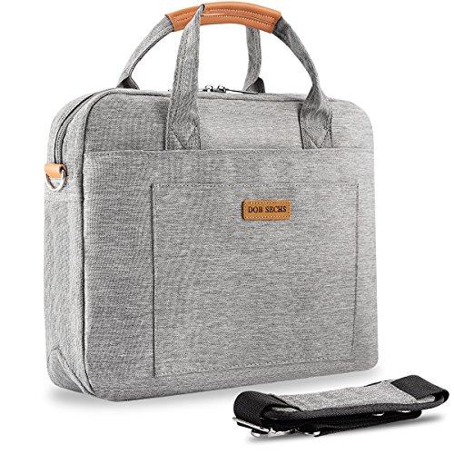DOB SECHS Laptop Bag 15-15.6 Inch Briefcase Shoulder Messenger Bag Bussiness Carrying Handbag Laptop Sleeve for Women and Men-Grey