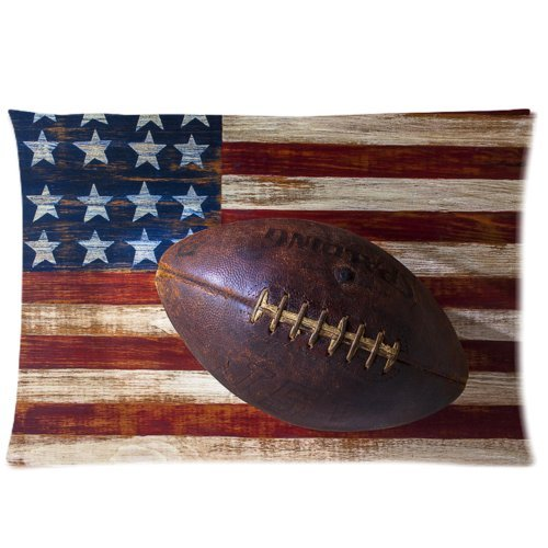 Vintage Old American Football on American Flag Pillowcase - Zippered Pillowcase, Pillow Protector Cover Cases - Standard Size 20x30 inches, One-sided Print Vintage American Football