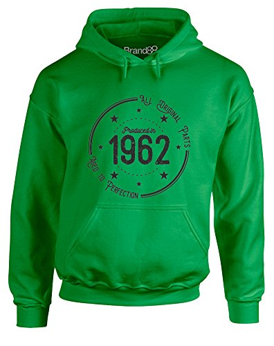 Born In 1962: Aged To Perfection, Adults Printed Hoodie - Irish Green/Black - 57th 6th And