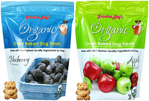 Grandma Lucys Organic Oven Baked Dog Treats Variety Pack - 2 Flavors (Apple and Blueberry) - 14 Ounces Each (2 Bags Total)