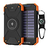Solar Power Bank, Qi Wireless Charger 10,000mAh External Battery Pack with Type C Port, Dual Flashlight and Compass (IPX4 Splashproof, Dustproof, Shockproof, Solar Panel Charging, DC5V/2.1A Input)