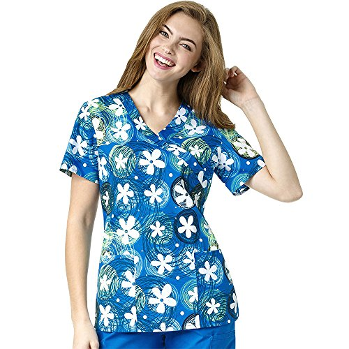 Zoe And Chloe Women's 2 Pocket Mock Wrap Floral Print Scrub Top X-Small (Two Pocket Mock Wrap)